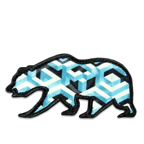 Geometric Blue Removable Bear Patch