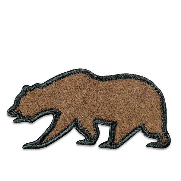 Brown Felt Removable Bear Patch