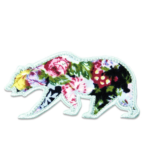 Small Floral Removable Bear Patch