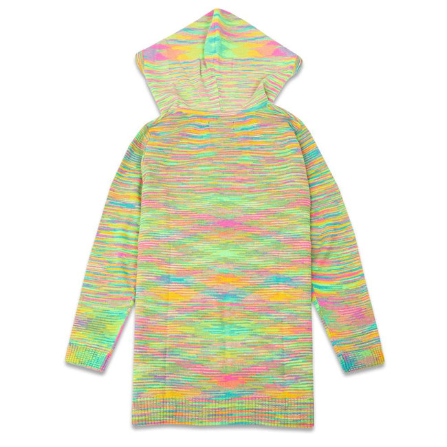 Rainbow Hooded Knit Cardigan
