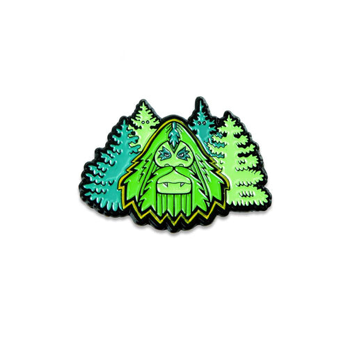 Bigfoot In The Woods Green Pin