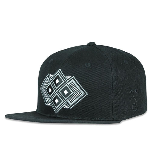 Digital Diamondback Black Allover Snapback Hat