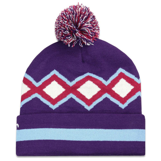 Freestyle Diamond Purple Pom Beanie