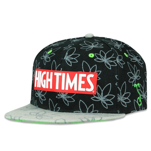 High Times Gray Leaf Black Snapback Hat