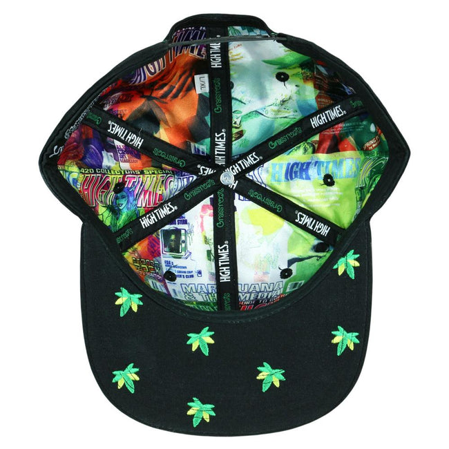 High Times Embroidered Leaf Black Snapback Hat