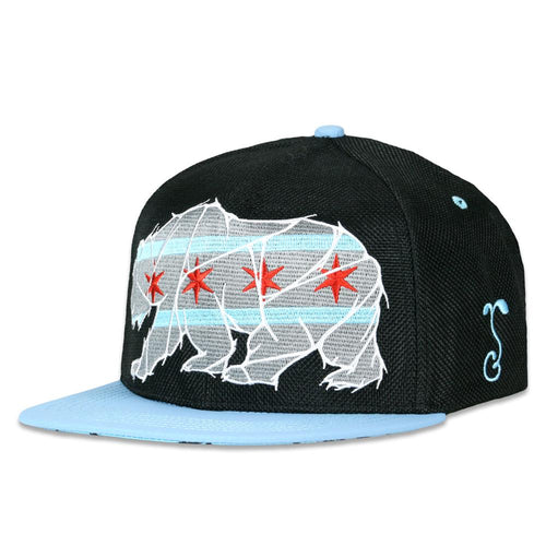 Chicago Mosaic Bear Black Blue Snapback Hat