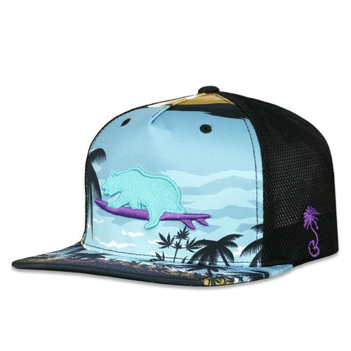 Tropical Surfing Bear Mesh Snapback Hat