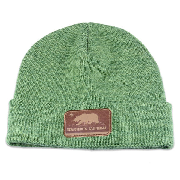 California Flag Leather Patch Olive Beanie - Grassroots California - 1