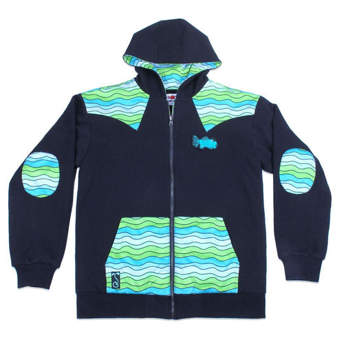 Jerry Garcia Removable Fish Waves Reversible Zip Up Hoodie - Grassroots California - 1