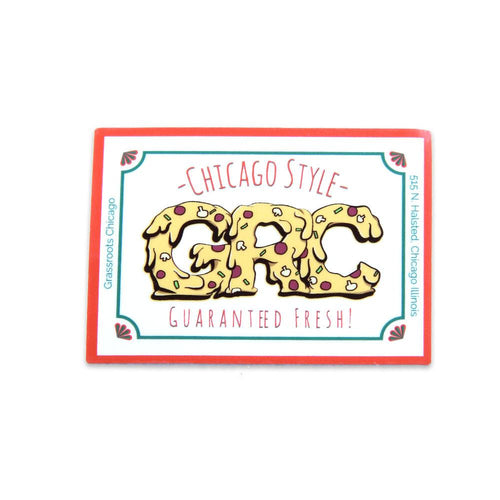 GRC Chicago Style Pizza Small Rectangle Sticker - Grassroots California