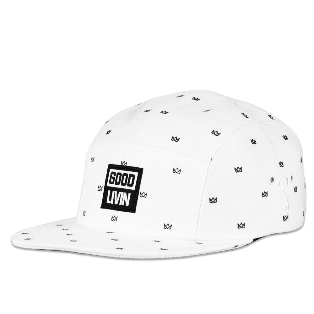 Good Livin Crown Black on White 5 Panel Strapback
