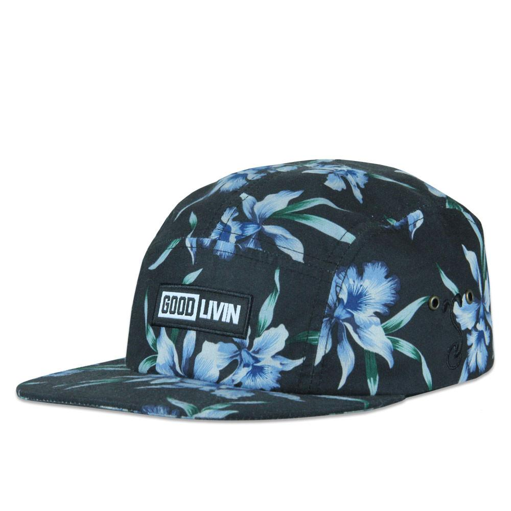 Good Livin Floral Black Blue 5 Panel Strapback