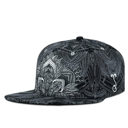 Tropicali Psychedelic Black and White Snapback