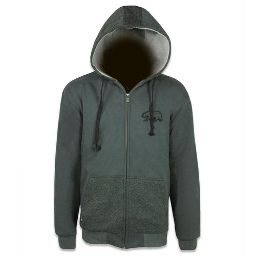 Quilted Speckle Removable Bear Zip Up Hoodie