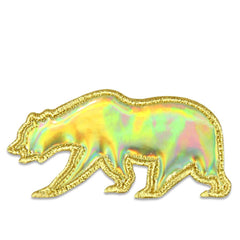 Gold Holographic Removable Bear Patch