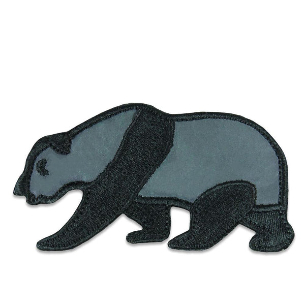 Black Reflective Panda Removable Bear Patch
