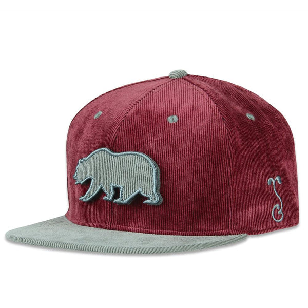 Removable Bear Merlot Snapback