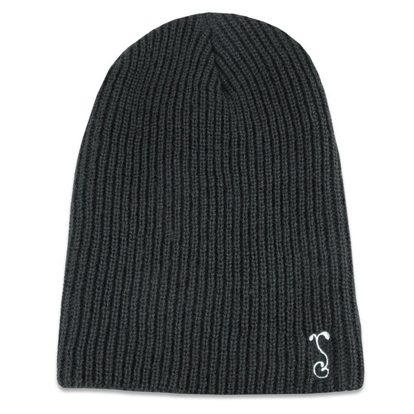 Black Simple Slouch Knit Beanie