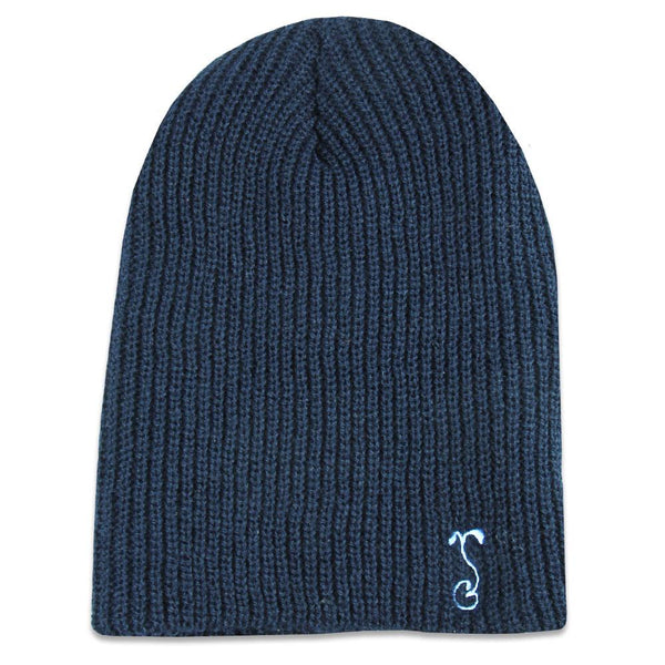 Navy Simple Slouch Knit Beanie