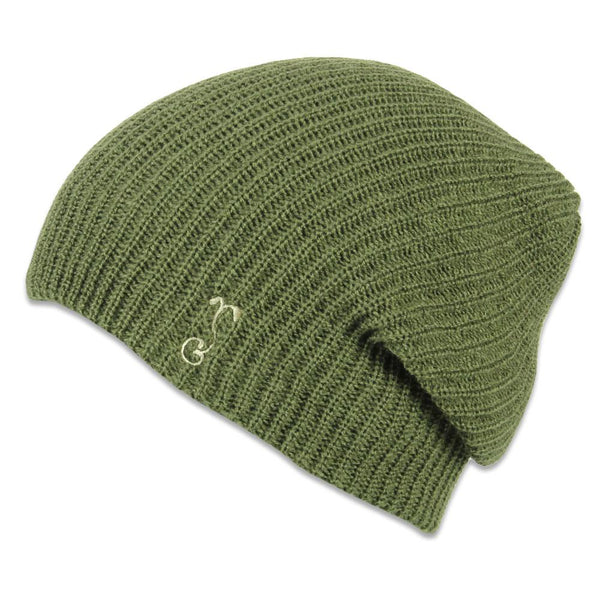 Olive Simple Slouch Knit Beanie