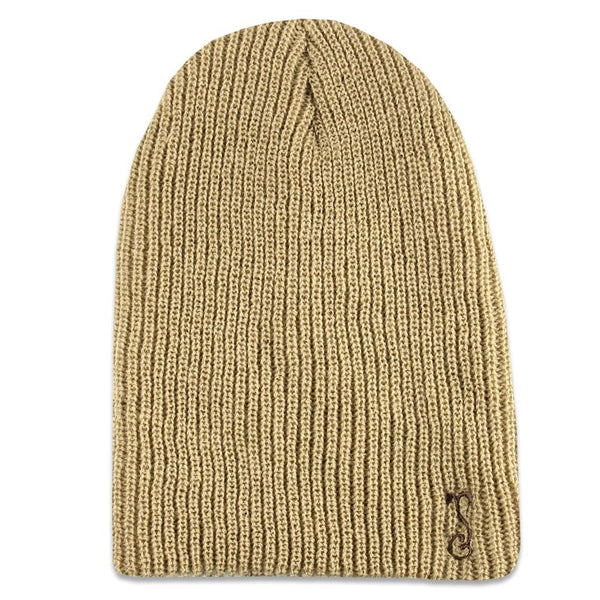 Sand Simple Slouch Knit Beanie