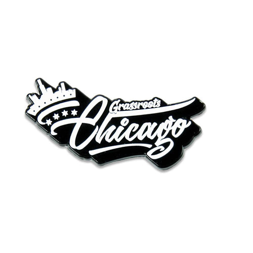 Chi Town Crown Script Pin