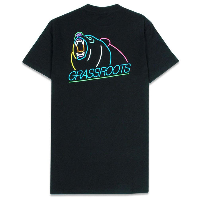 Neon Lines Bear Black T Shirt