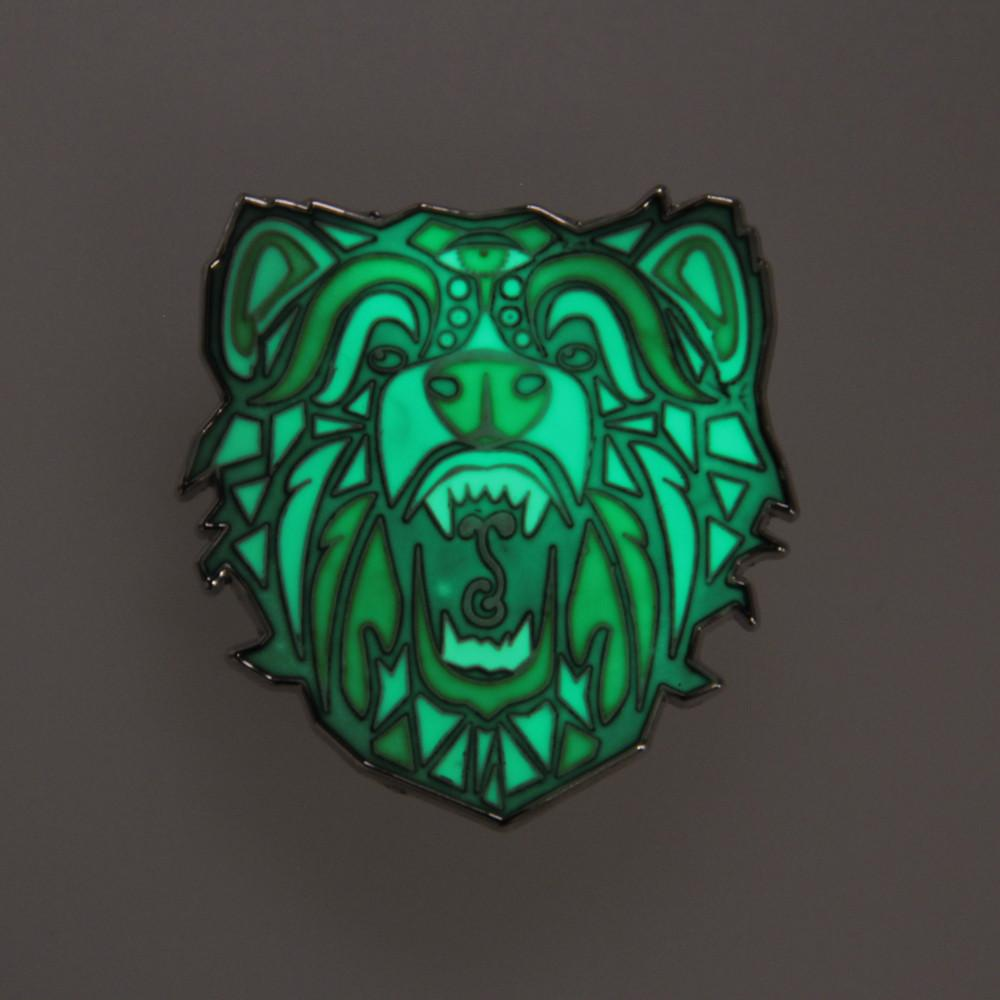 Bear Face Sprout Glow Pin (Designed by Ashley Mora) - Grassroots California - 2