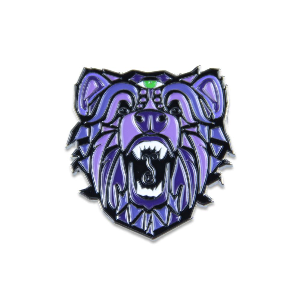 Bear Face Sprout Purple Pin (Designed by Ashley Mora)