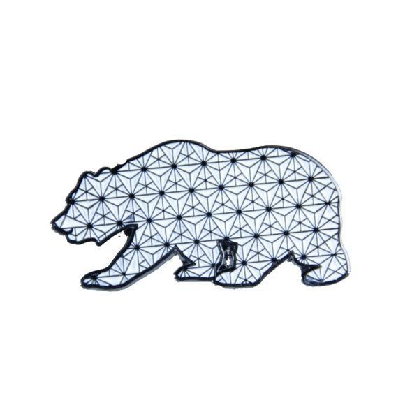 Sacred Geometry Bear White Pin - Grassroots California - 1