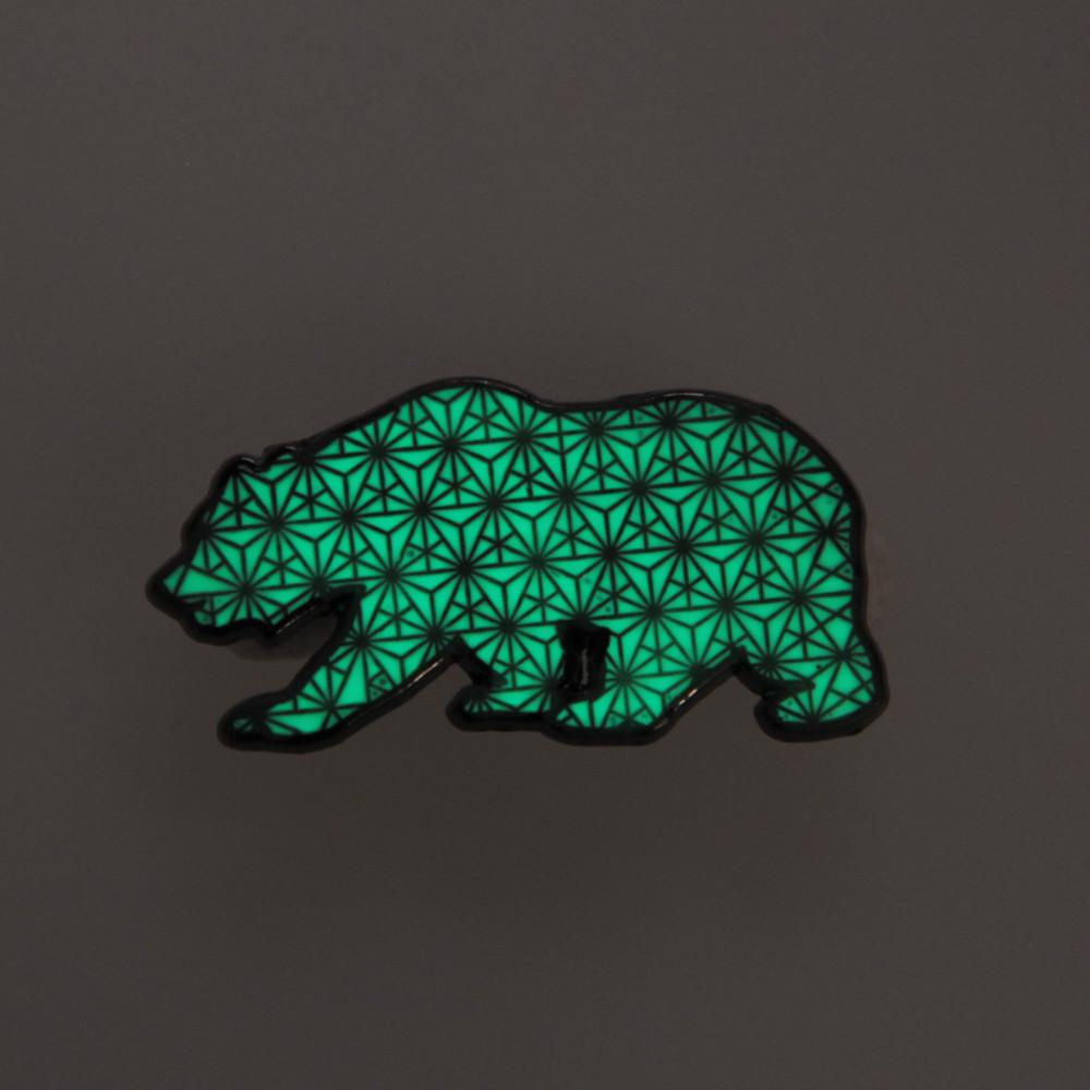Sacred Geometry Bear Glow Pin - Grassroots California - 2