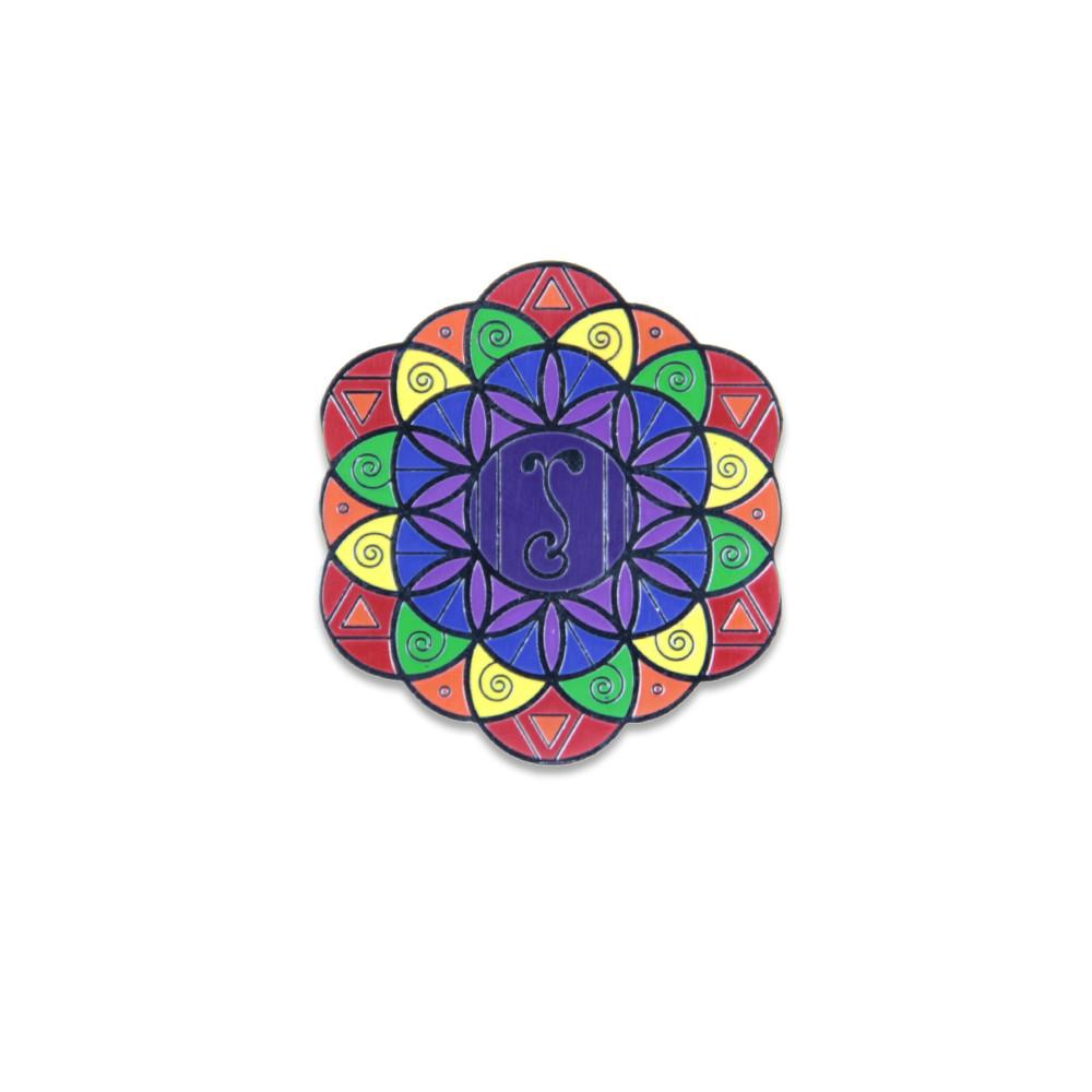 ROYGBIV Flower of Life Pin