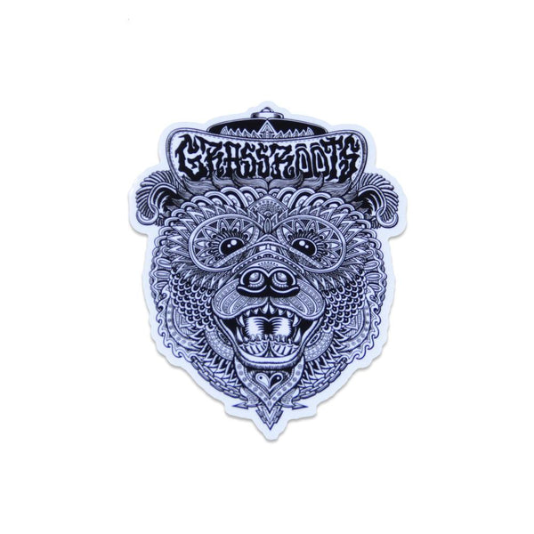 Chris Dyer Black White Bear Sticker - Grassroots California