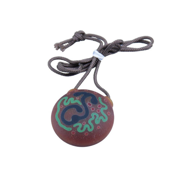 Chad G Blue Sprout Green Squiggle Disk Pendant - Grassroots California