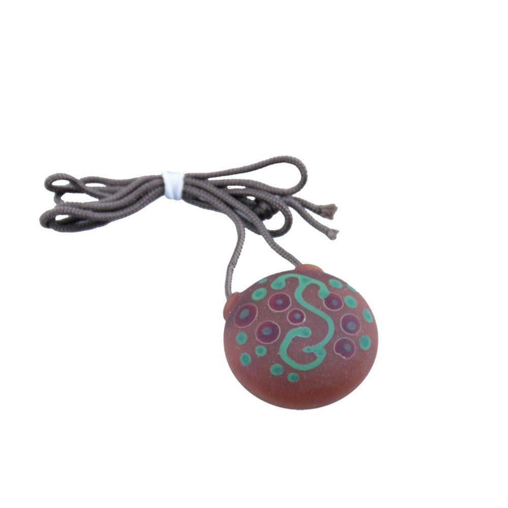 Chad G Green Sprout Green/Red Dots Disk Pendant