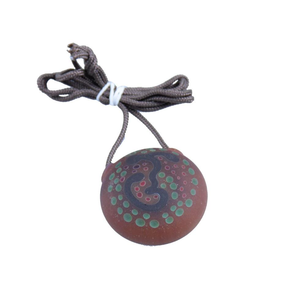 Chad G Blue Sprout Small Red/Green Dots Disk Pendant