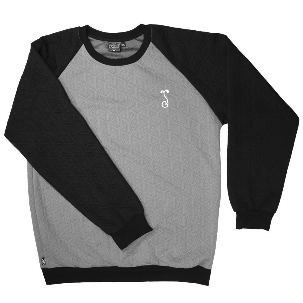 Quilted Black Gray Crew Neck