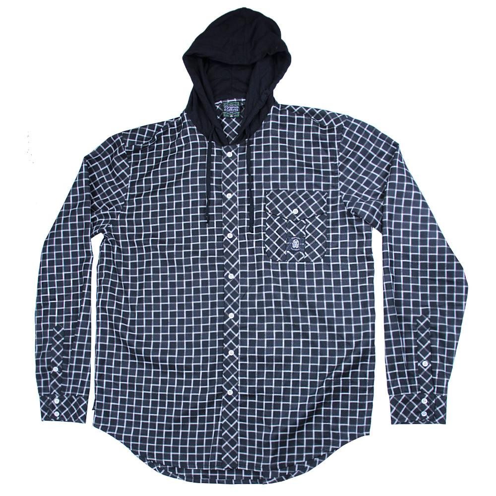 Black and White Checker Hooded Flannel
