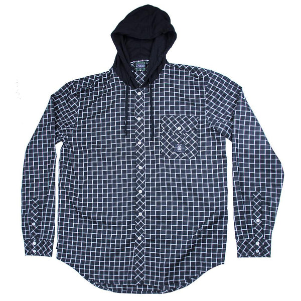 Black and White Checker Hooded Flannel - Grassroots California - 1