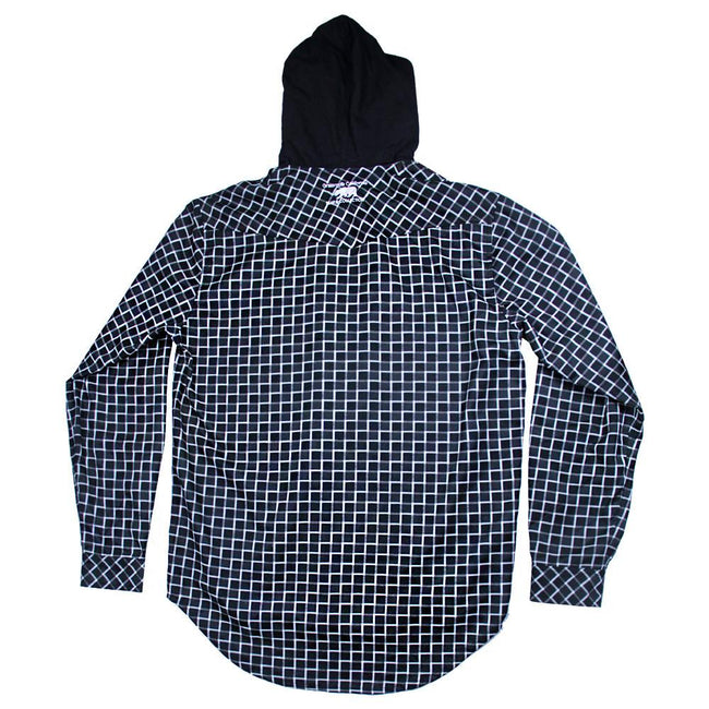 Black and White Checker Hooded Flannel - Grassroots California - 2