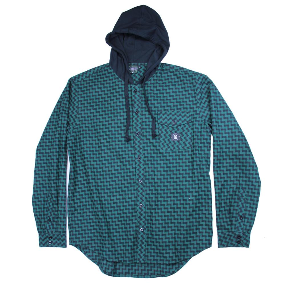 Crosshatch Green Hooded Flannel