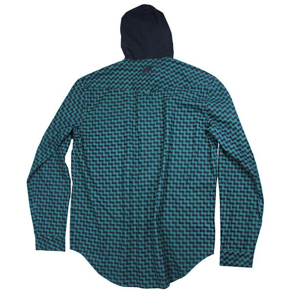 Crosshatch Green Hooded Flannel - Grassroots California - 2