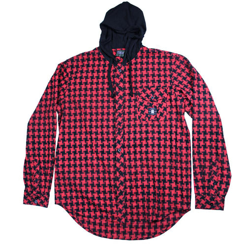 Digital Red Hooded Flannel - Grassroots California - 1
