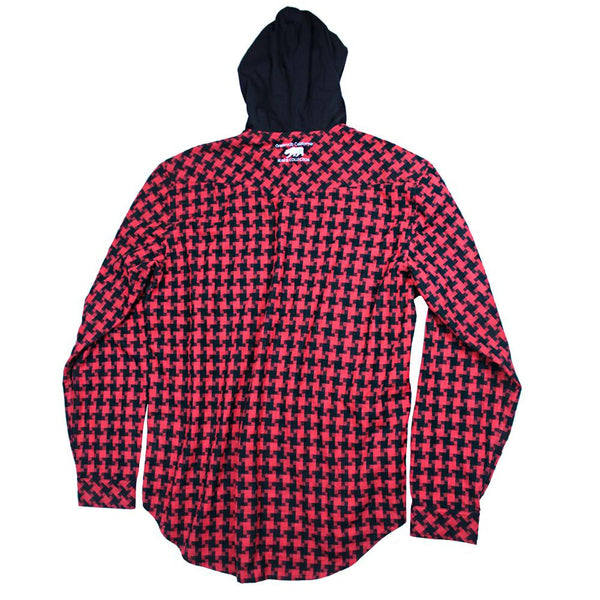 Digital Red Hooded Flannel - Grassroots California - 2