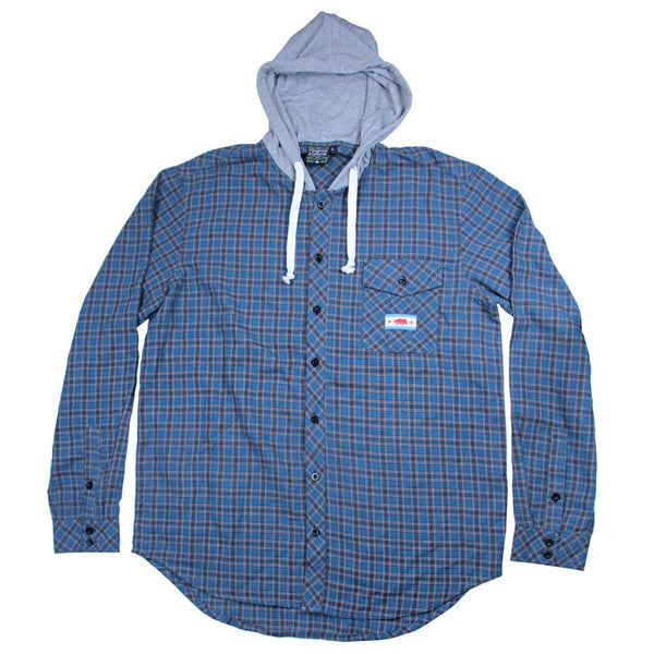 Light Blue Gray Hooded Flannel - Grassroots California - 1