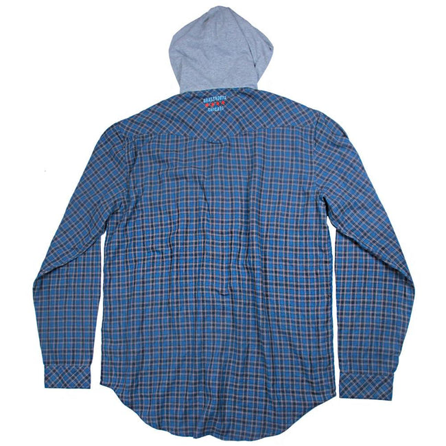 Light Blue Gray Hooded Flannel - Grassroots California - 2
