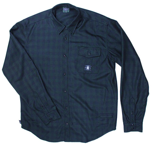 Subtle Green Black Flannel - Grassroots California - 1