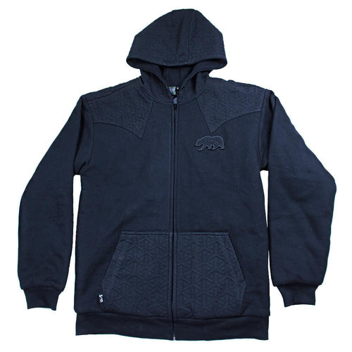 Bear Collection Black Quilted Zip Up Hoodie - Grassroots California - 1