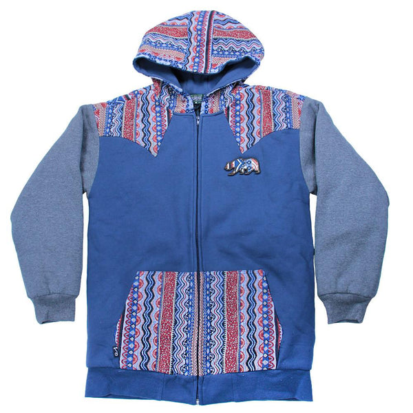 Bear Collection Wavy Blue Zip Up Hoodie - Grassroots California - 1
