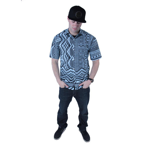 Aztec All Over Teal Black Button Up Short Sleeve - Grassroots California - 1